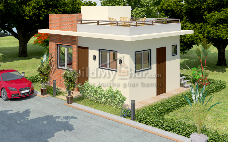 1 bhk home plan with 500 sq ft to 600 sq ft build up area Naksha for house construction