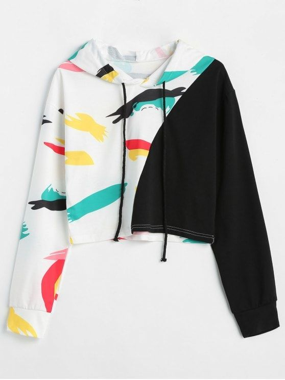 Contrast Graphic Crop Hoodie   Pin It To Win It, From ...