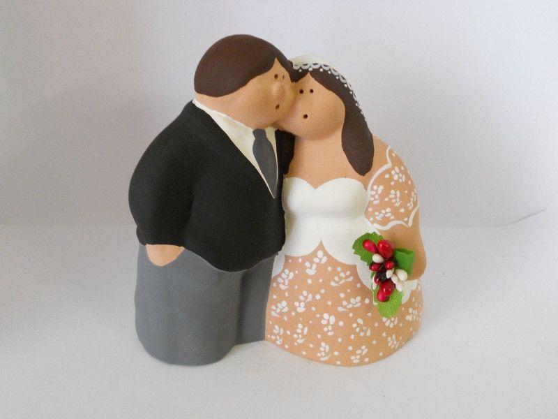 Sposini+di+terracotta+-+wedding+cake+topper+di+oggettiterracotta+su+DaWanda.com