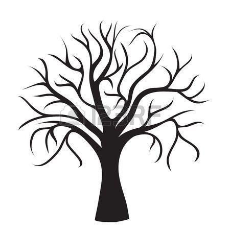 Schwarz Baum ohne Blätter auf weißem Hintergrund, Vektor-Bild ...