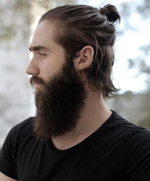 Half Ponytail Bun And Long Beard Men S Hairstyles Long Hair Styles Men Man Bun Styles Man Bun Haircut
