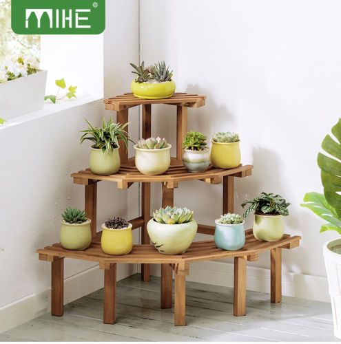 Details about 3 Tier Corner Flower Pot Stand Pine Wood Garden Rack Plant Display Shelf Decor