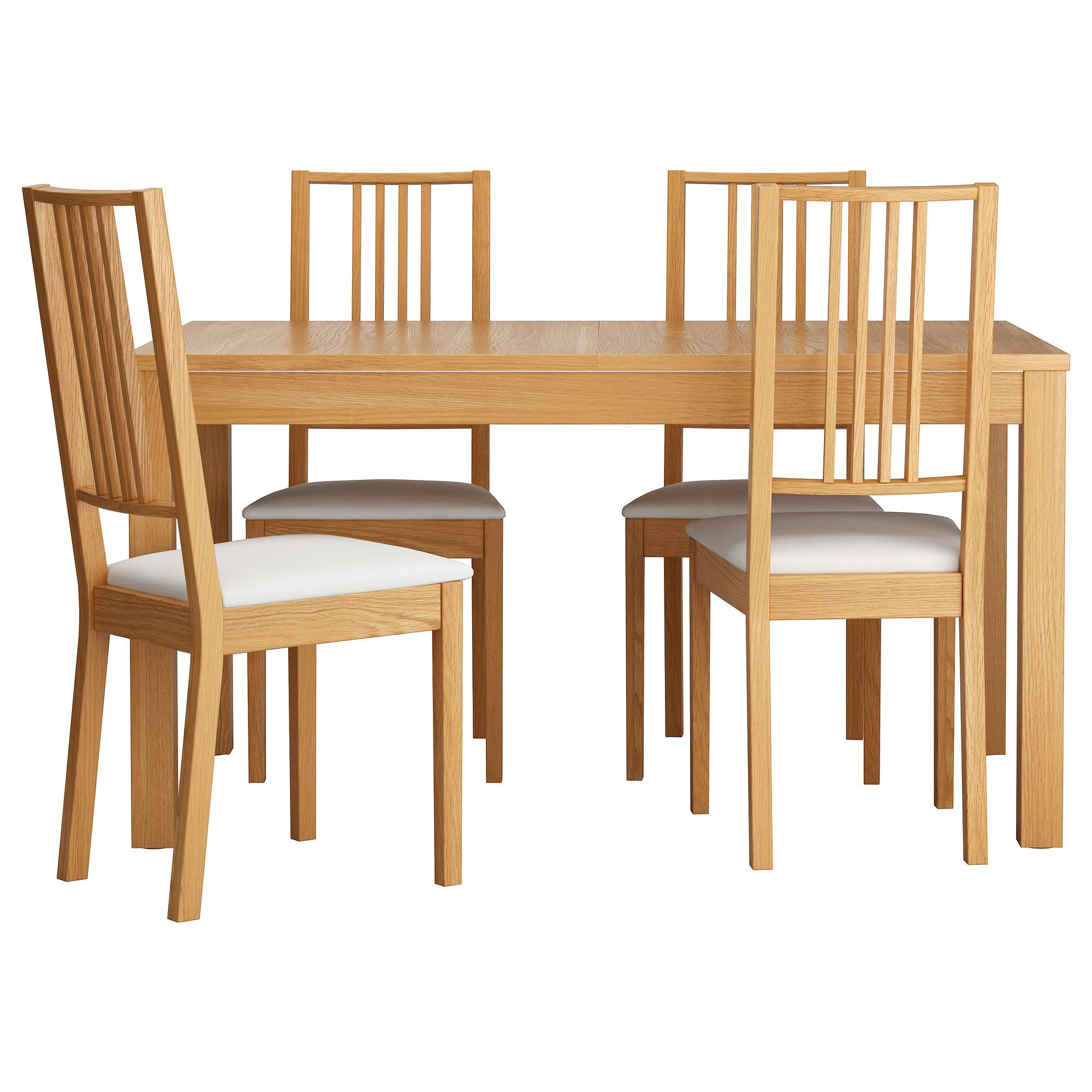 IKEA BJURSTA BORJE Table And 4 Chairs Oak Veneer Gobo White 140 Cm Extendable Dining With 2 Extra Leaves Seats Makes It Possible To Adjust The