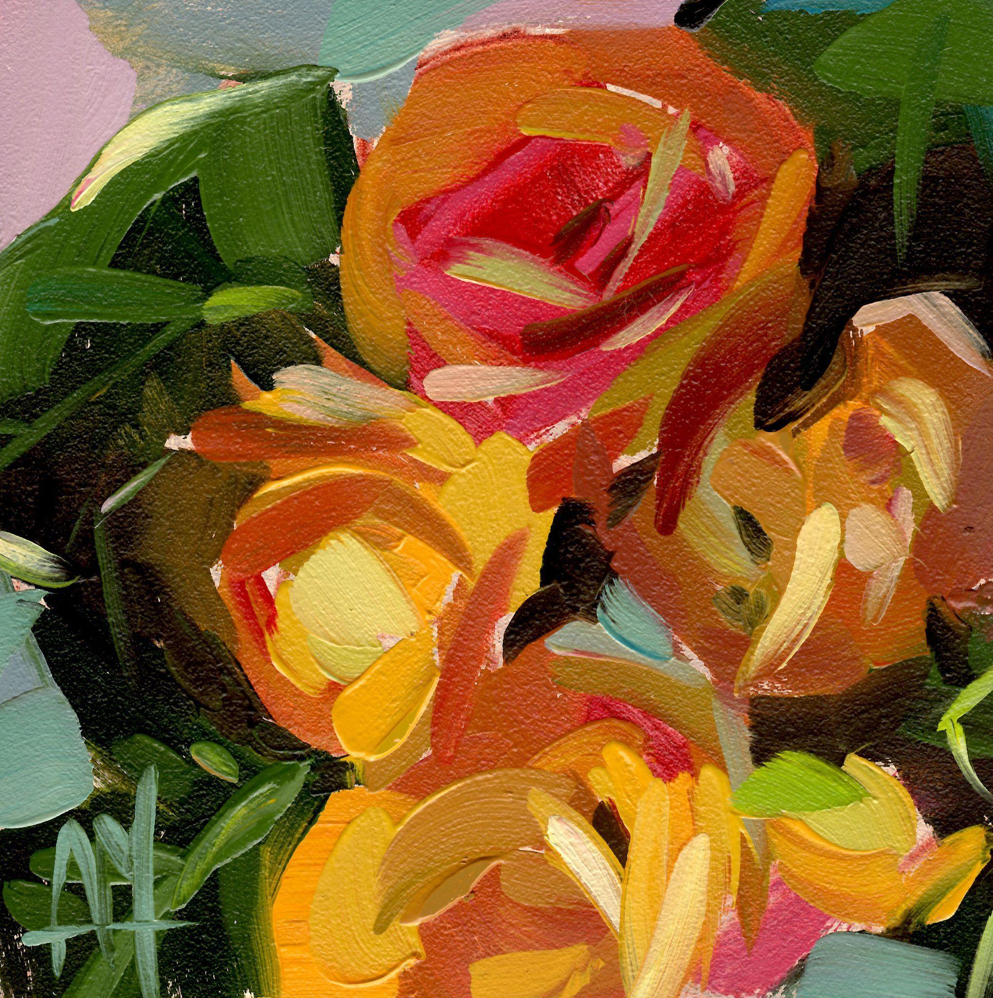 Orange Ranunculus Flowers Print by Angela Moulton 8 x 8