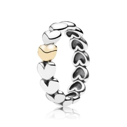 345ba7a30 Pandora Silver and 14ct Gold Heart Band Ring 190898 | PANDORA Rings ...