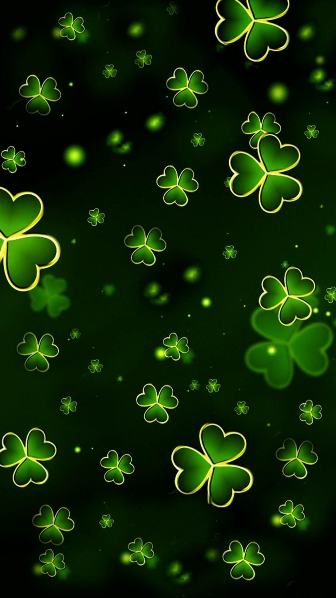 Green with gold trim shamrocks | St patricks day wallpaper ...