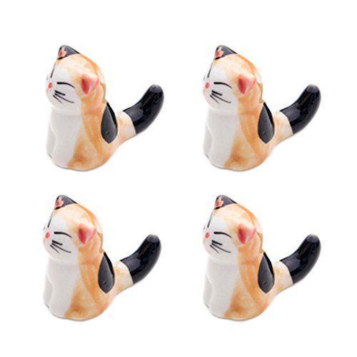 Set Von 4 Japanischen Keramik Lucky Cat Shaped Stäbchen Löffel Gabeln Halter N - http://besteckkaufen.com/blancho/set-von-4-japanischen-keramik-lucky-cat-shaped-st-l-8