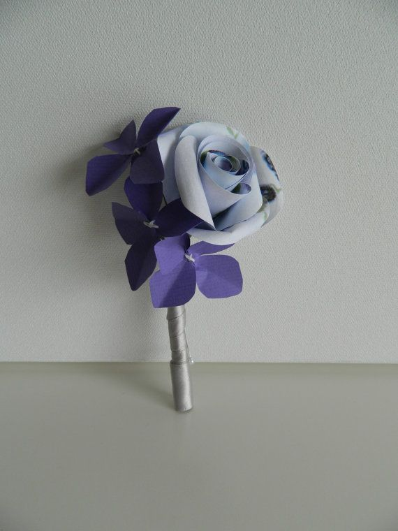 Purple Rose and Hydrangea Paper Buttonhole by APaperRoseStudio, £12.00