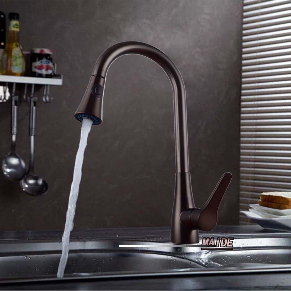 Solid Brass Single Lever High Arc Pull Down Kitchen Faucet with ...