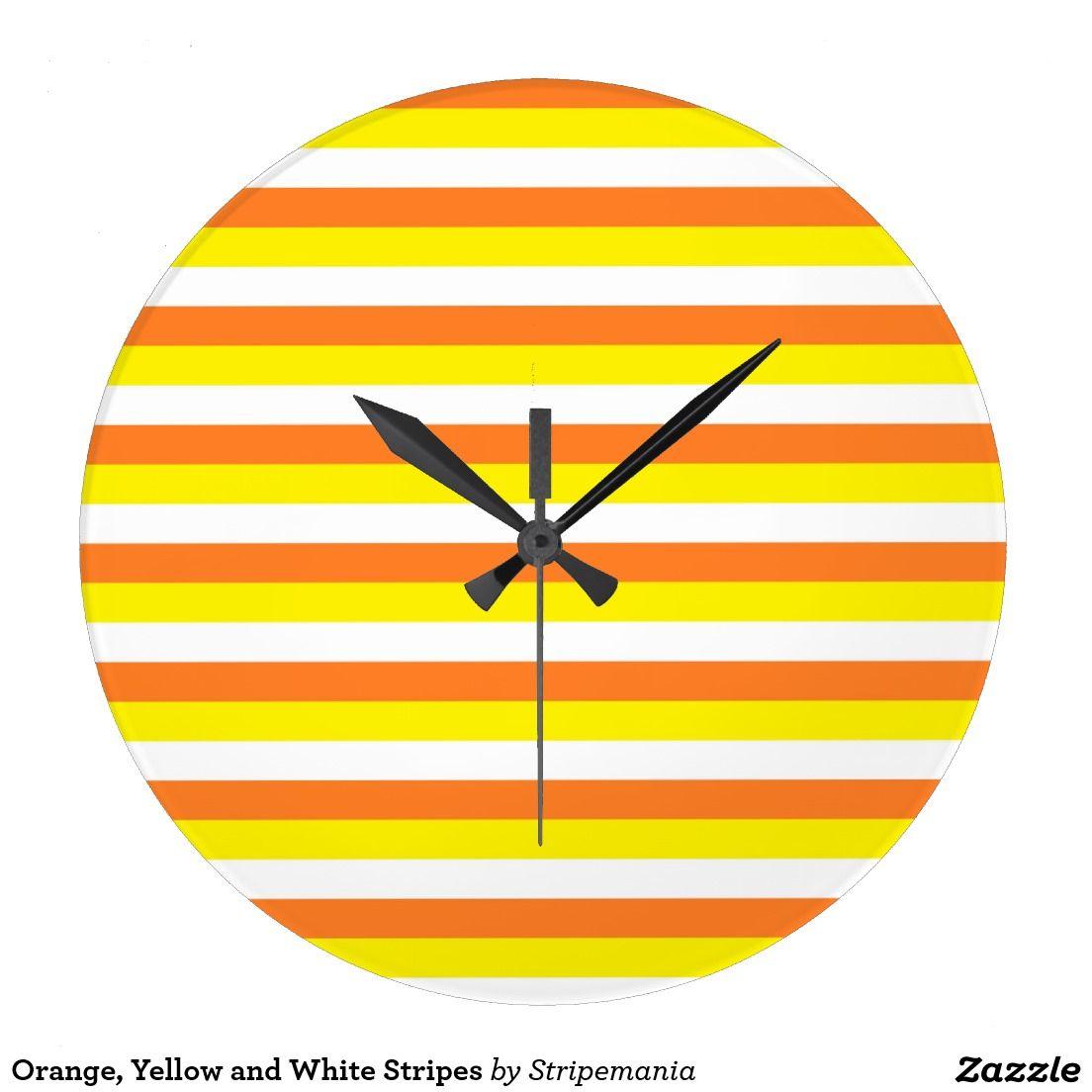 Orange, Yellow and White Stripes Large Clock