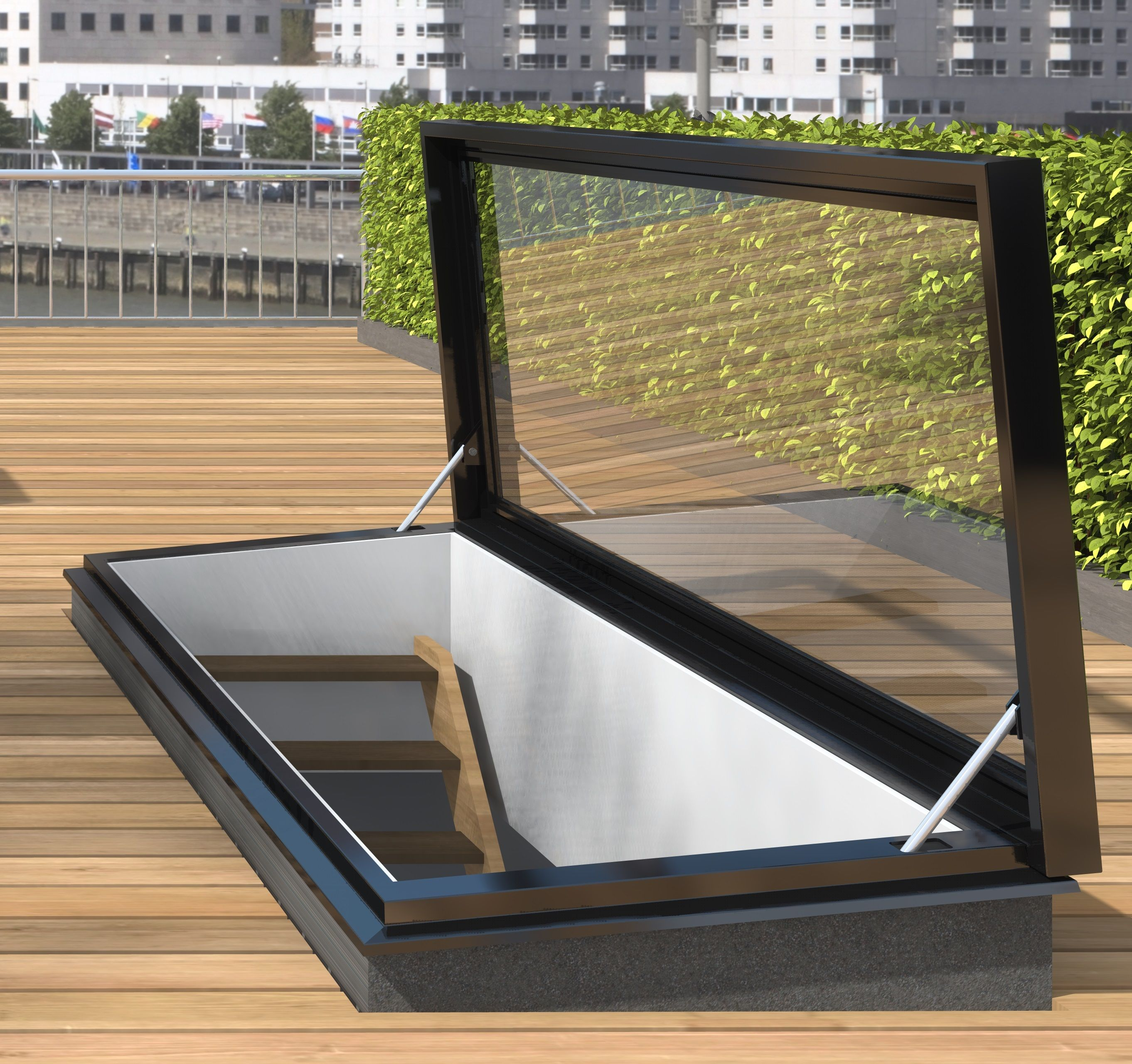 Staka Dakluik Roof Access Hatch With Glass Staka Roof Hatches