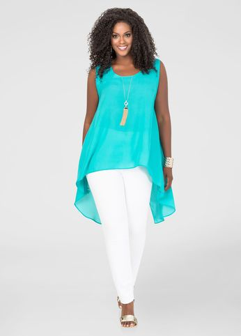Plus Size Split Back Hi-Lo Blouse