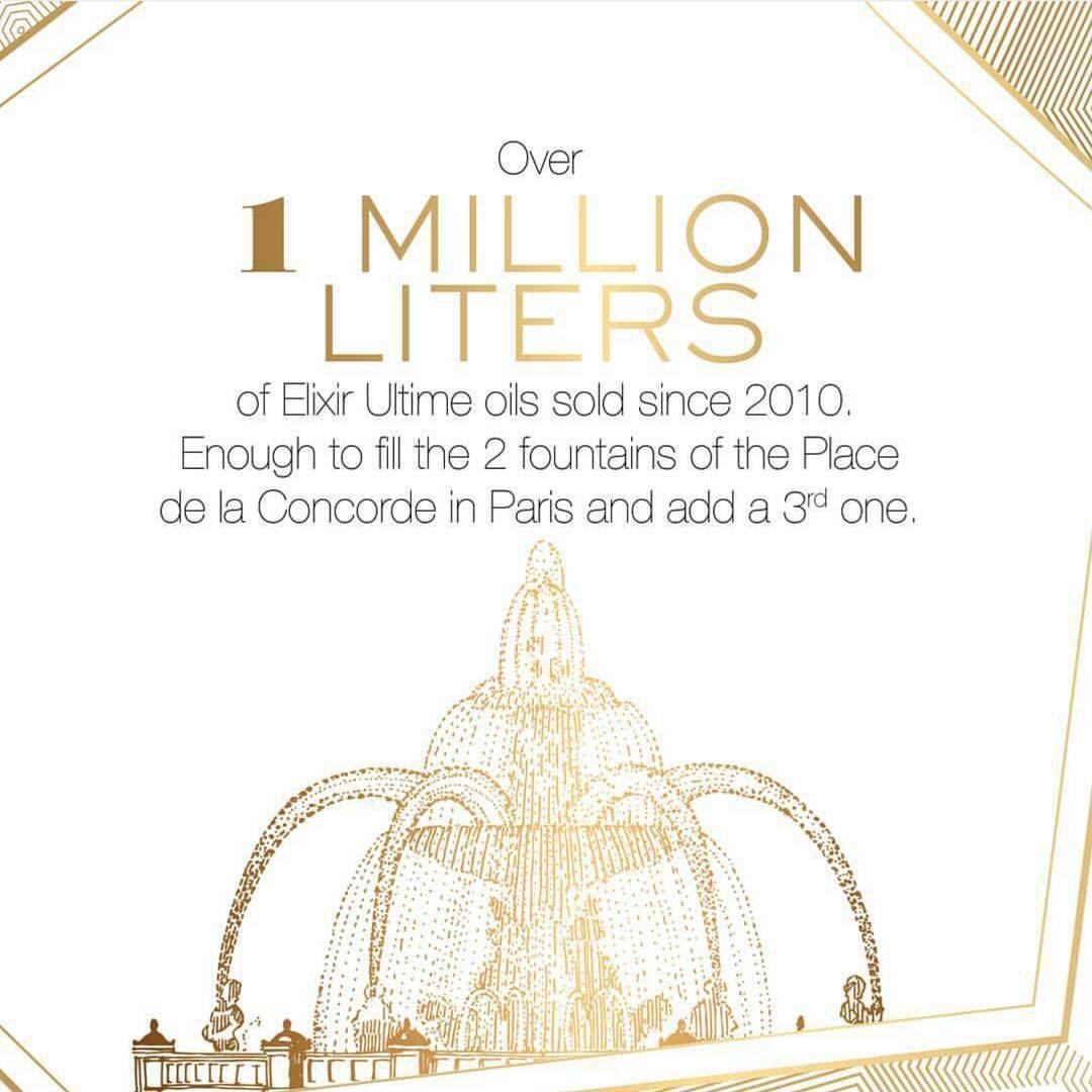 لقد باع كيراستاس اكثر من 1 مليون لتر من الكسير اولتيم منذ سنة 2010 وهي كافيه لملئ نافورتين وربع من ساحة كونكورد الموجودة في باريس متو Concorde Hair Care Paris