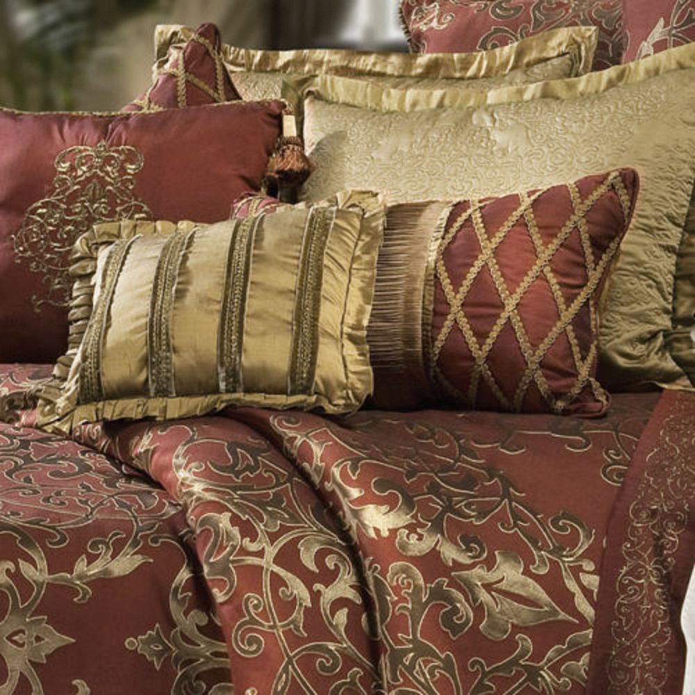 comforter queen gold jacquard red oversized shams burgundy pin set reversible sets luxury