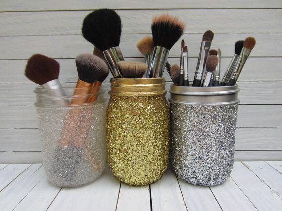 Mason Jar Glitter Makeup Brush Holder, Desk Accessories, Art Brush Holder, Pint Size on Etsy, $6.00