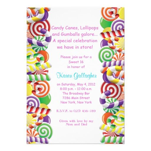Candyland candy Theme Sweet 16 Invite Sweet 16 Pinterest Candy