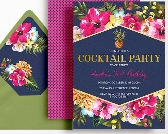 Cocktail party invitation navy pink gold printable beach pool party cocktail party invitation navy pink gold printable beach pool party 21st 30th 40th 50th beach party filmwisefo