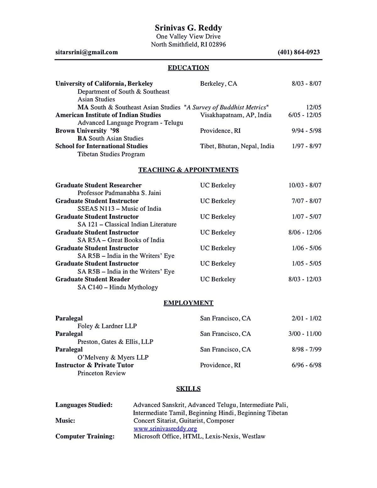 Resume Format Academic Curriculum vitae resume, College
