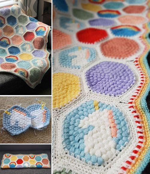 Hexipuff Unicorn Blanket - Free Pattern (Beautiful Skills ...
