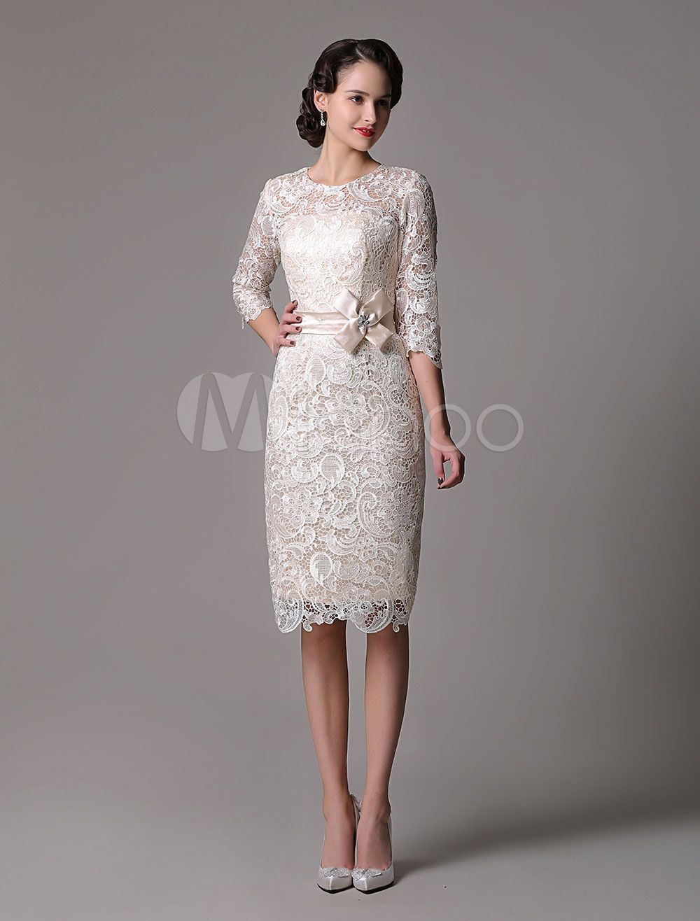 Wedding guest dresses lace sheath champagne cocktail dress knee
