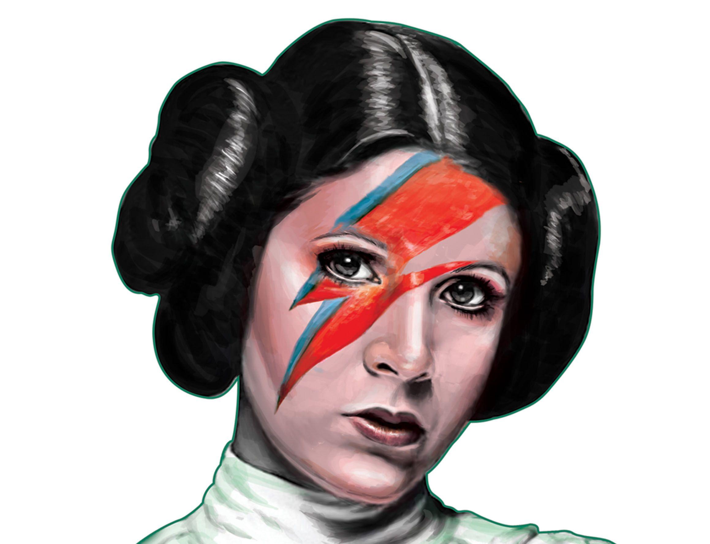 """Rebel Rebel 4/"""" x 3"""" Full Color Die-Cut Vinyl Decal Leia Star Wars Bowie Sticker"""