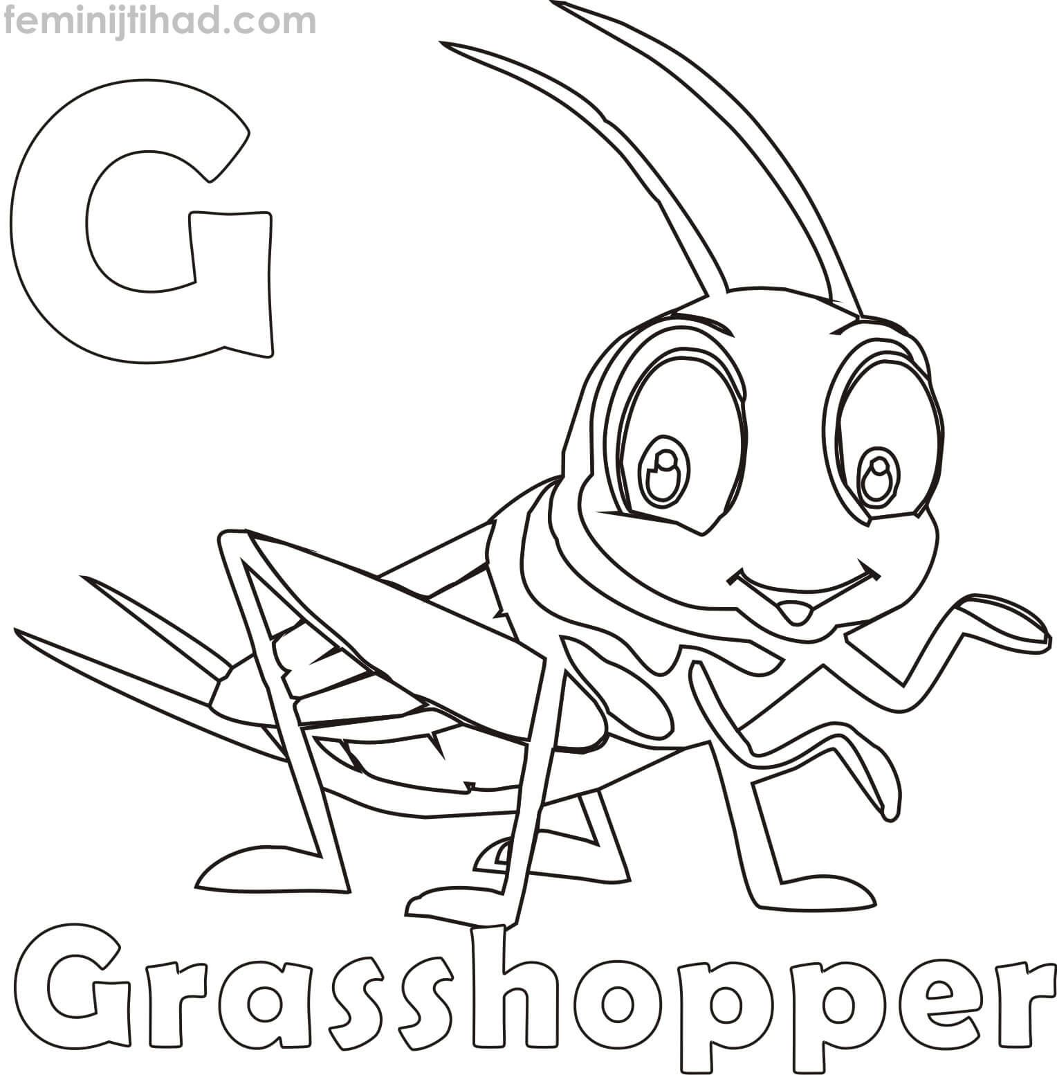 G For Grasshopper Coloring Pages For Kids