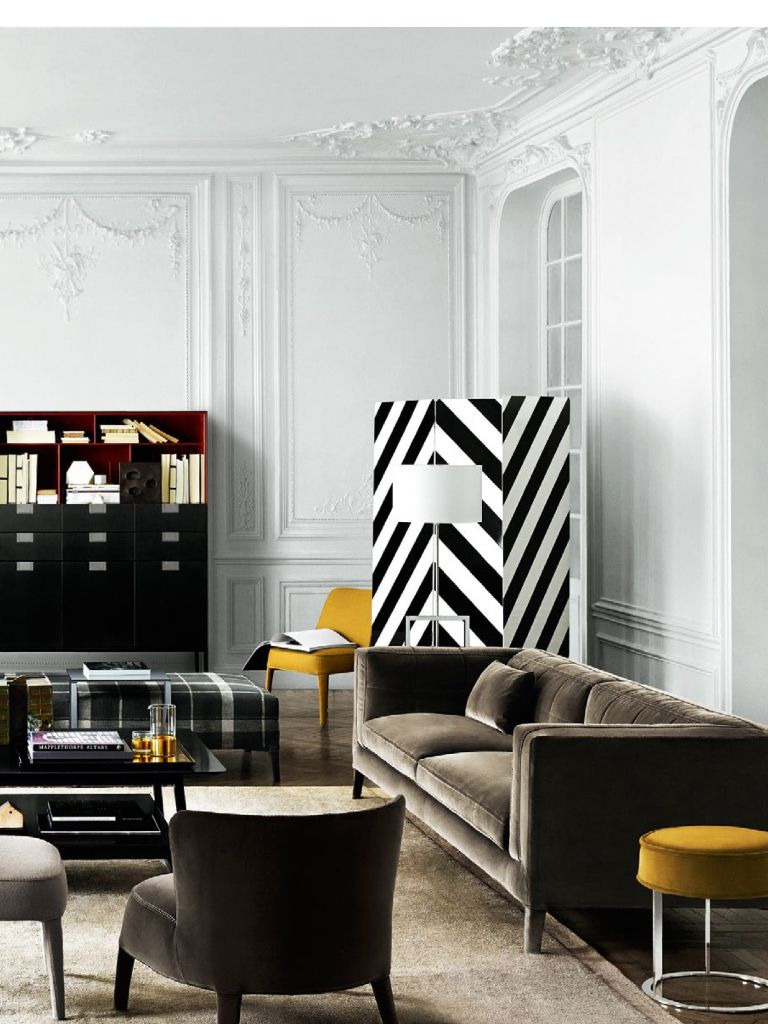 Black and white living room | the pops of yellow are just ...