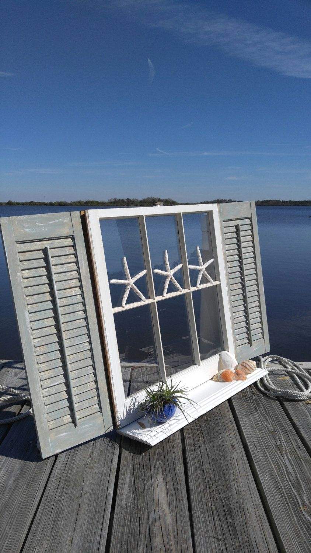 Old Window Old Window With Shutters Window Shelf Vintage Window Shelf Vintage Coastal Decor
