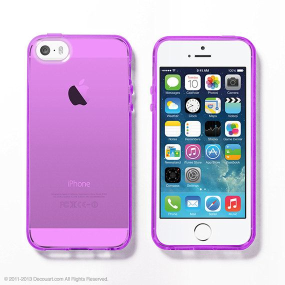 Purple Soft Clear iPhone 5s case on Etsy