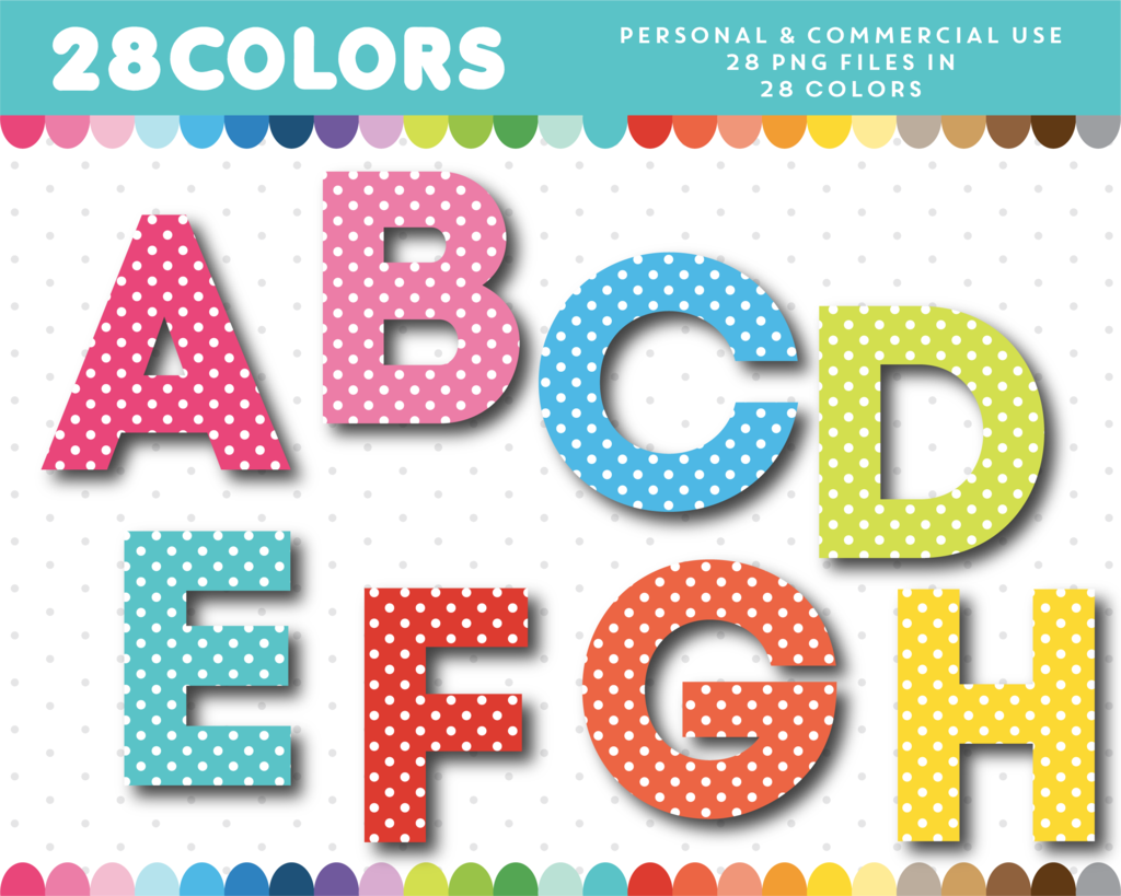 Polka Dot Alphabet Clipart With Numbers In 28 Colors Al