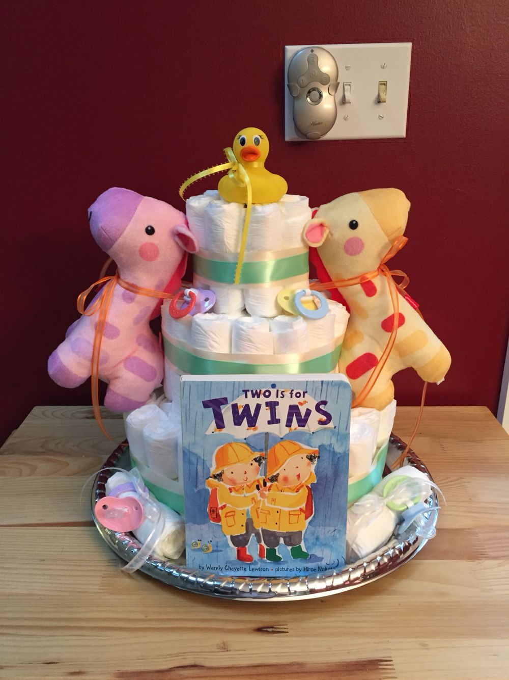 Diaper cake for twins boy & girl Twins baby shower