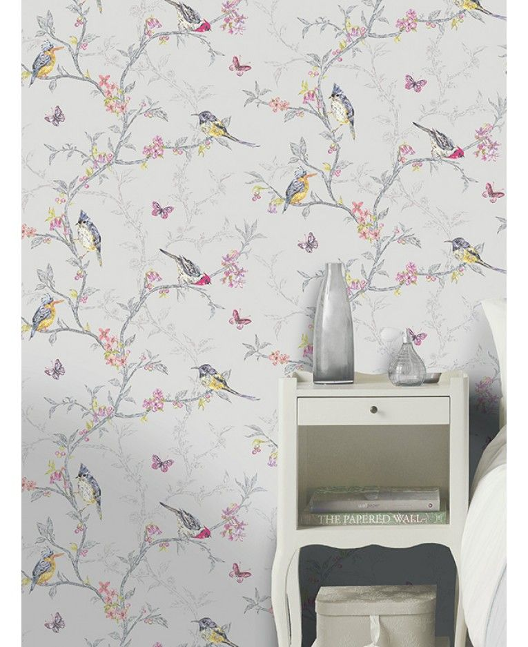 Phoebe Birds Wallpaper Dove Grey Holden 98081 (With images ...