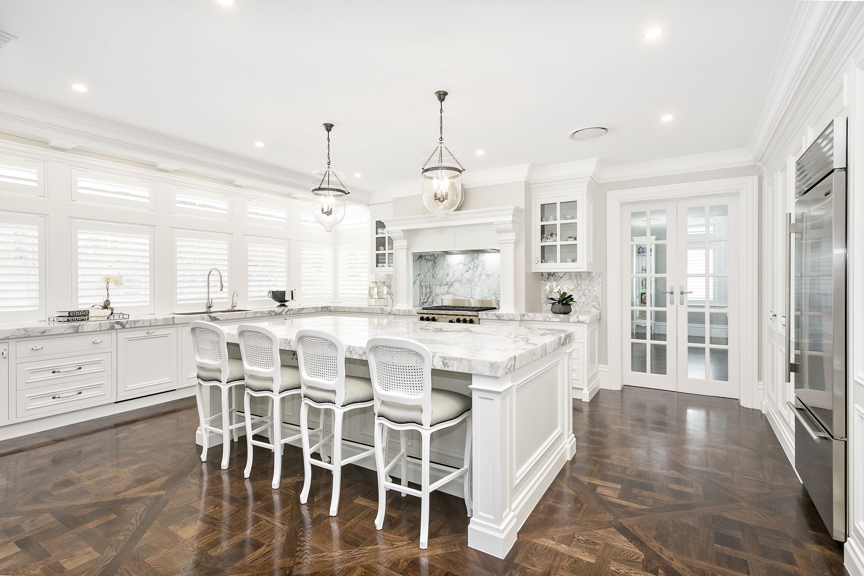 stunning traditional kitchen timber handpainted marble benchtops