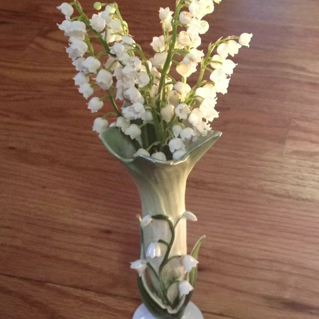 Lily of the Valley in grandmother's vase.   so sweet...
