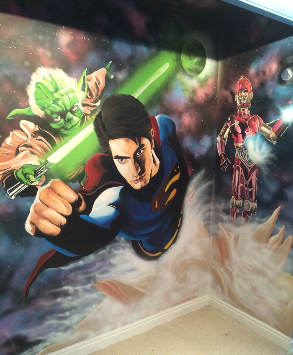 wall mural space mash up feat yoda superman c3po painted by adam wall mural space mash up feat yoda superman c3po painted by adam hargreaves