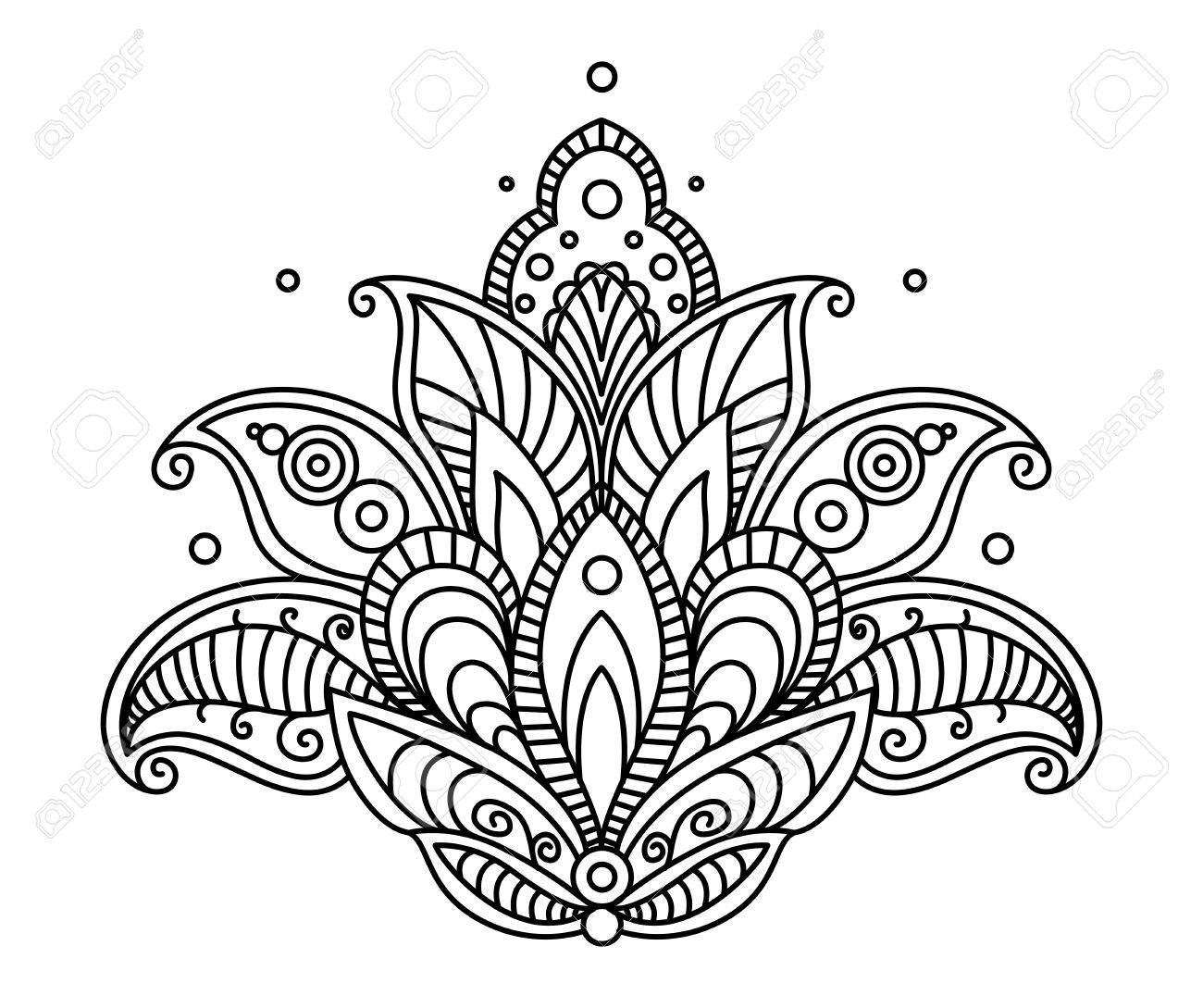 28396815 pretty ornate paisley flower design element in a dainty