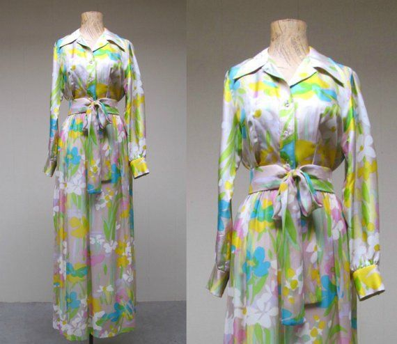 Vintage 1960s Floral Silk Chiffon Maxi Blouse And Skirt