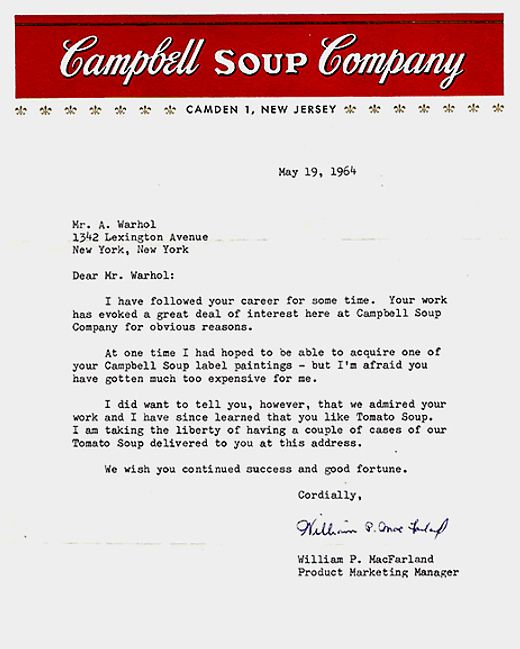 A Letter Of Admiration From The Campbell Soup Company To Andy
