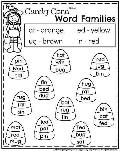 October Kindergarten Worksheets Kindergarten Worksheets Word Families Kindergarten Rhyming words kindergarten worksheets