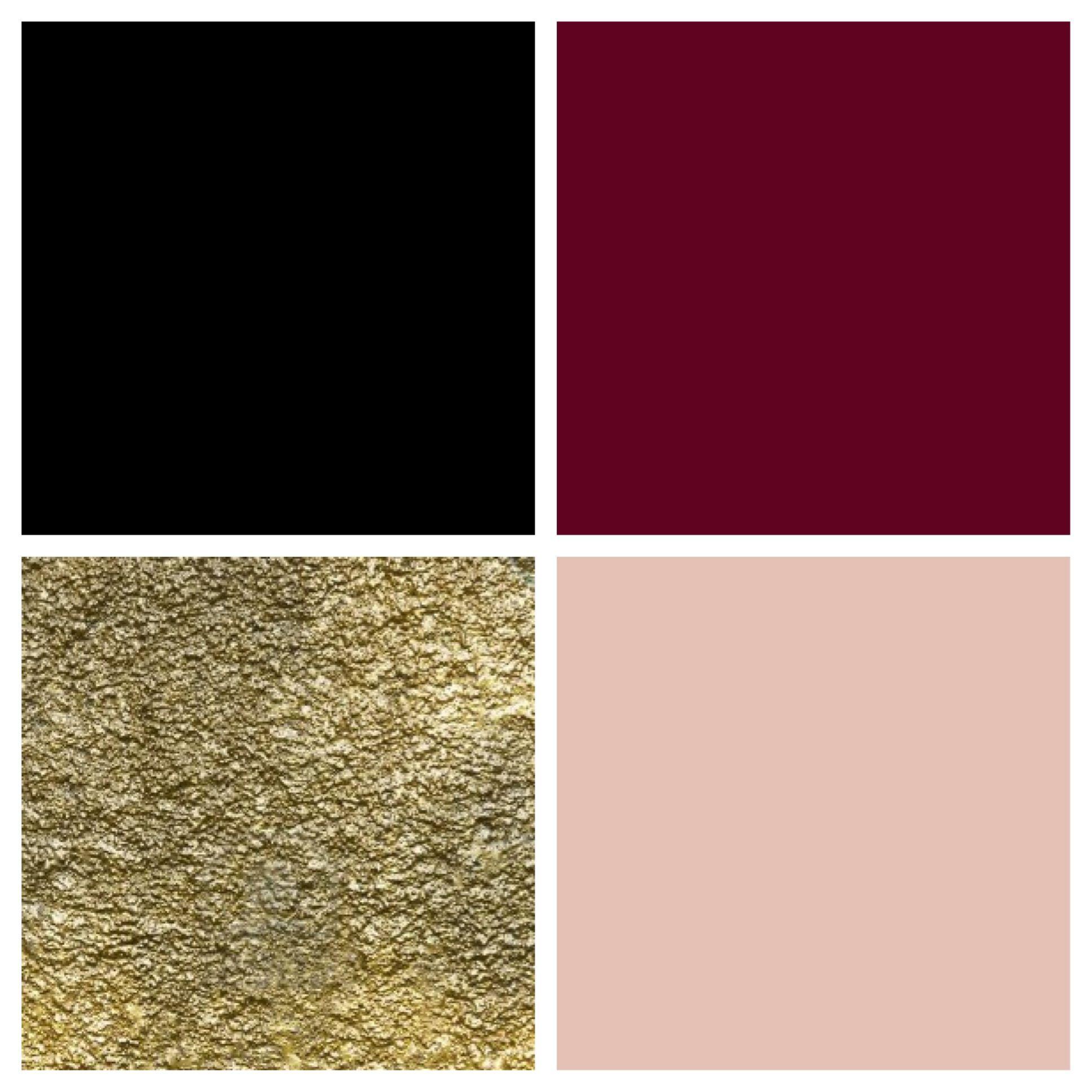 Theme color palette: black, bordeaux, gold & blush. mit weiß anstatt schwarz und Gold nur als Akzentfarbe? Bzw. Gold und Bordeuax nur Akzente?