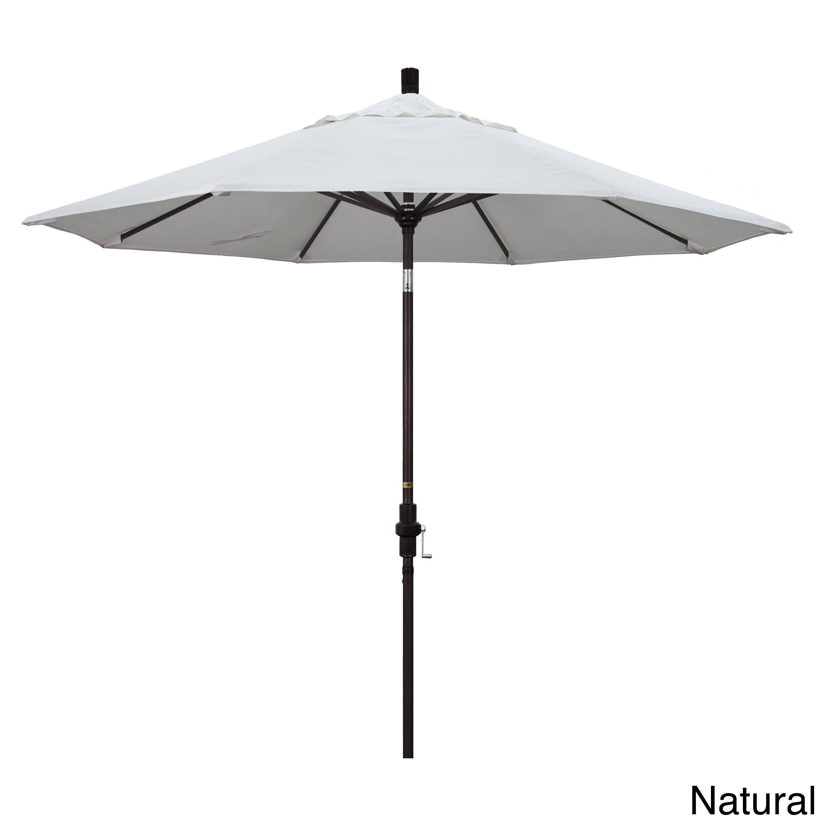 California Umbrella 9' Rd. Market Umbrella, Deluxe Crank Lift with Collar Tilt, Bronze Frame Finish, Pacifica Fabric, #GSCU908117-SA01