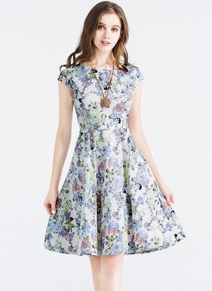 Cotton Floral Cap Sleeve Knee-Length Casual Dresses (1037634)   floryday.com 5a098dc2b0ce