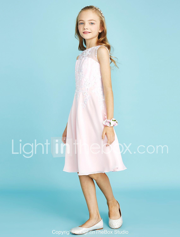 מעטפת \\ עמוד עם תכשיטים באורך הברך שיפון תחרה שמלה לשושבינות הצעירות ...