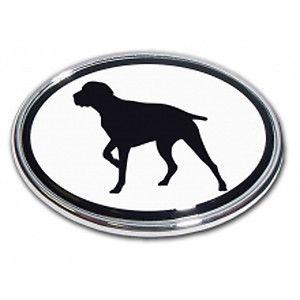 Pointer Dog Emblem Sportsman Wildlife Birddog oval Real metal Chrome auto decal