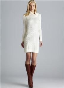 f92e513abf Calvin Klein Long Sleeve Cable Knit Sweater Dress