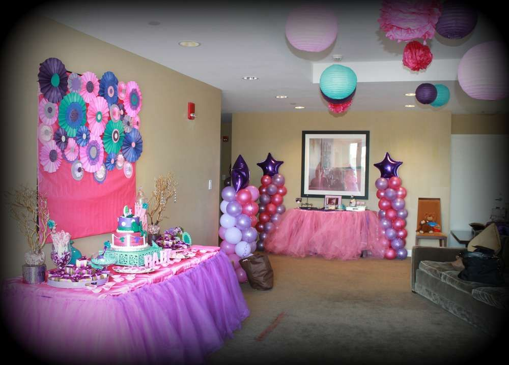 Pink purple turquoise it 39 s a girl baby shower party ideas for It s a girl dekoration