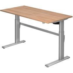 Sitz-Steh-Schreibtisch elektrisch Xm16 160x80cm Nussbaum Gestellfarbe: Silber HammerbacherHammerbach