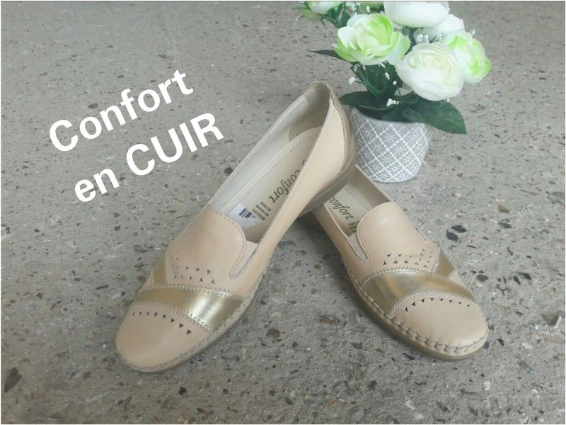 a4e76b13093 Chaussure mocassin en cuir beige dorées lady confort taille 42 - Chaussures  mocassin ultra confortable