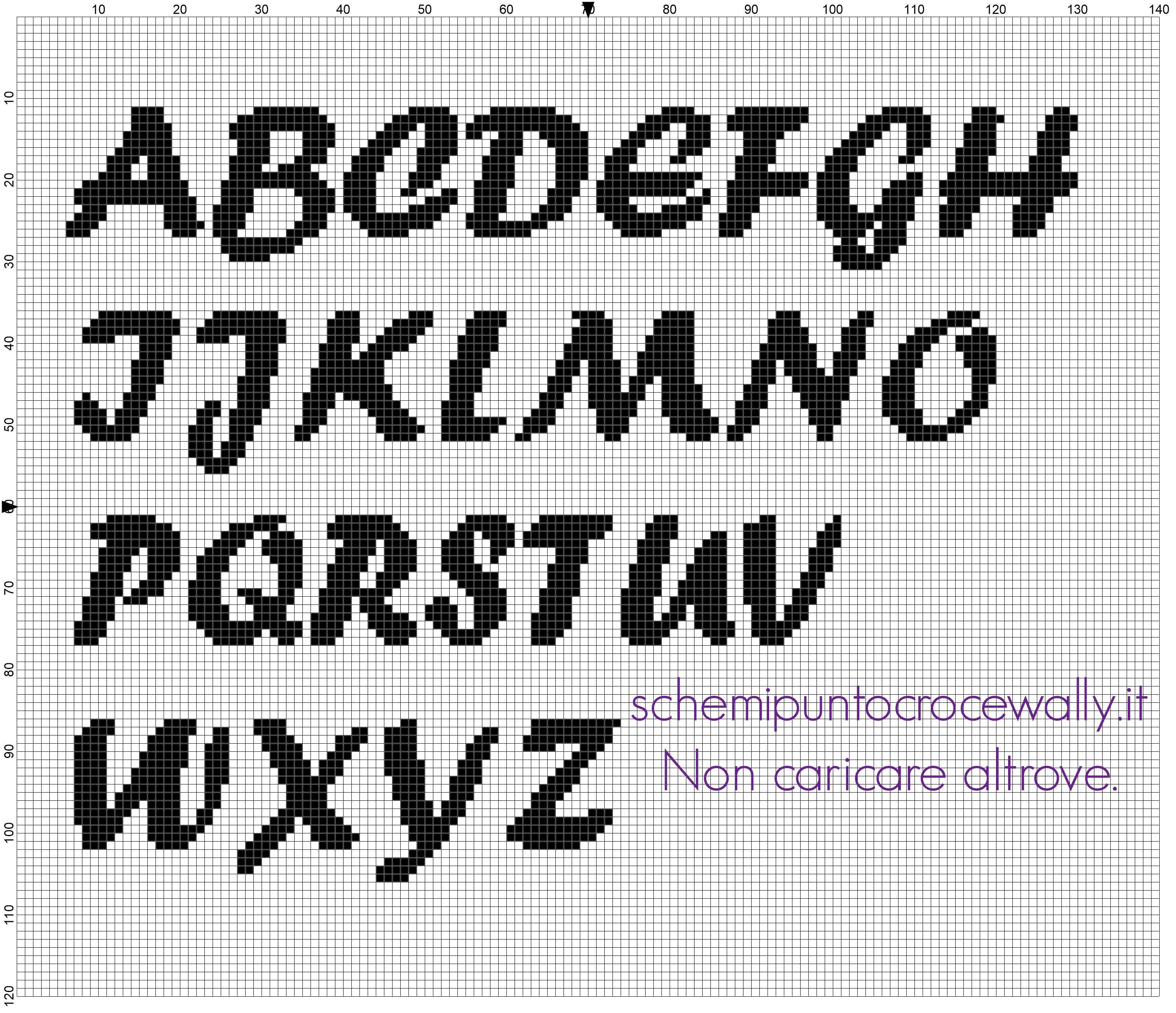 Alfabeto punto croce da ricamare carattere font forte for Alfabeto punto croce disney gratis