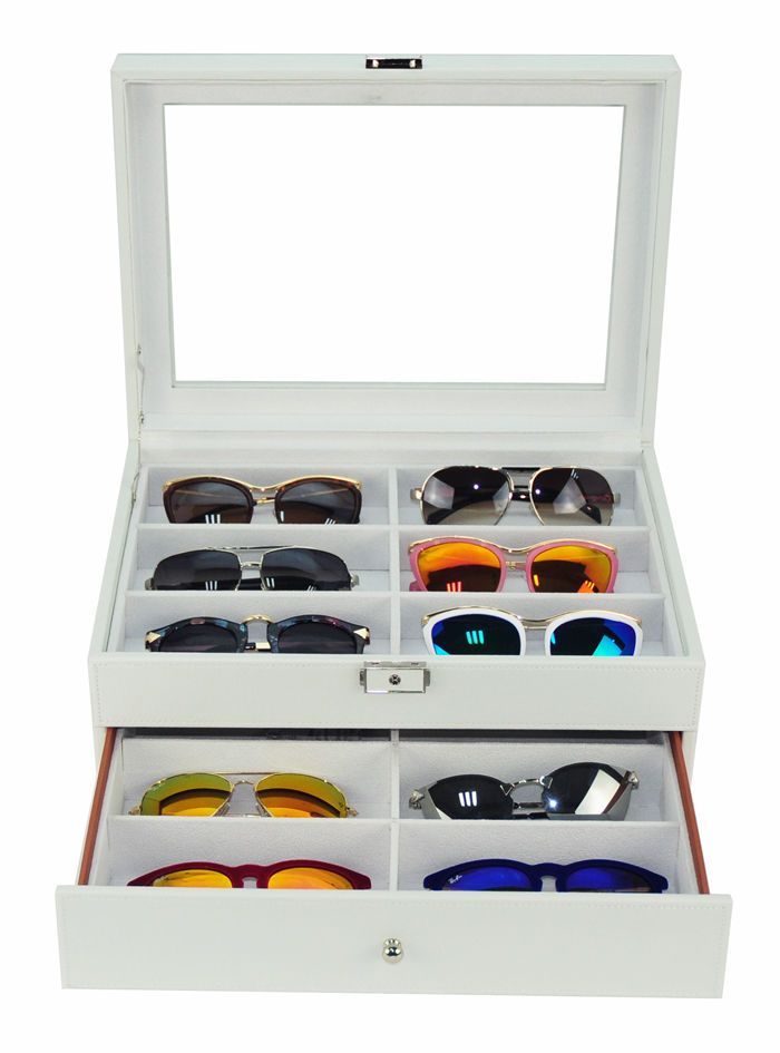 b4a0a70cc4 12 white eyeglass sunglass oversized storage display case glasses organizer